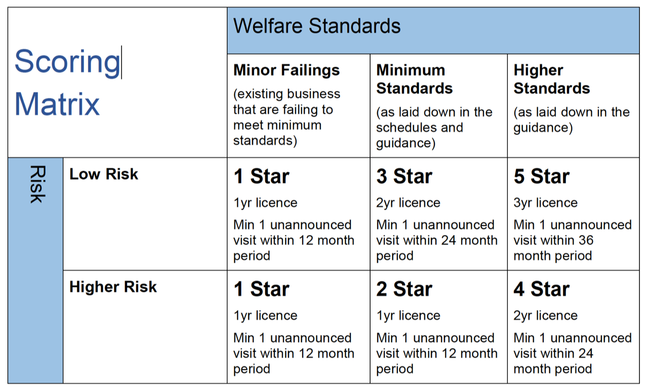 Pet Shop Licence Scoring Matrix