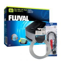 Fluval Q2 AirPump with Airline and LED Air Curtain
