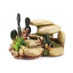 White Sandstone and cactus, aquarium ornament.