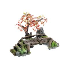 Wood bridge aquarium ornament