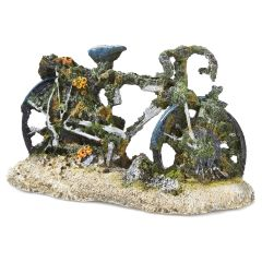 bicycle wreckage, aquarium ornament.