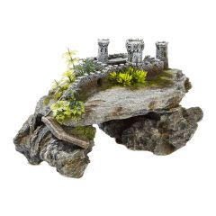 ruined castle and plants, aquarium ornament.