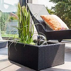 black, patio pond, water feature, rattan