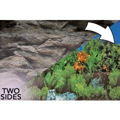 Superfish Aquarium 2 Sided Poster Background Rock and Plants