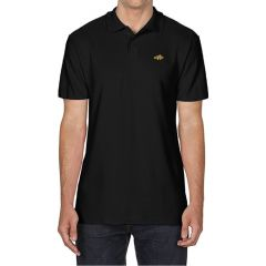 Black polo shirt with image of a clownfish