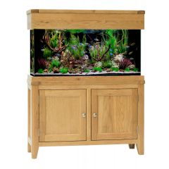 slim oak aquarium with cabinet and hood