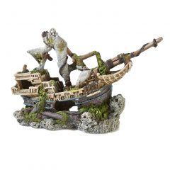 Galleon on rocks Aquarium ornament.