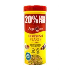 Pot of Aqua Care Goldfish flakes.
