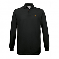 long sleeve polo, black, mens