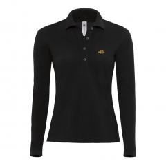 ladies, long sleeve, polo shirt, black