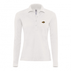 long sleeve, polo shirt, ladies, white