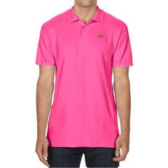 Pink polo shirt with image of a clownfish
