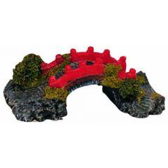 small red bridge, aquarium ornament.