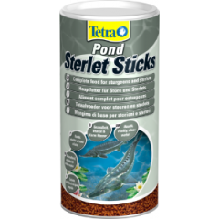 tub of tetra pond sterlet sticks.