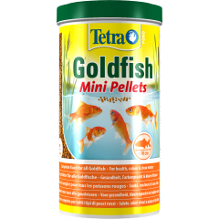 tub of tetra goldfish mini pellets.