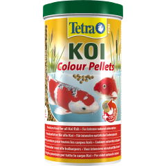 tub of Tetra pond koi colour food pellets.