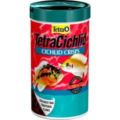 Tetra Cichlid crisps in a 93g tub.