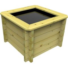 square wooden fish pond.
