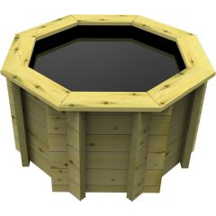 small octagonal pre-formed wooden pond
