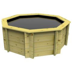 Octagonal preformed wooden fish pond