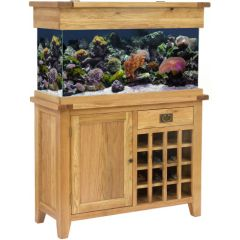 Aqua Oak 110cm Wine Rack Aquarium and Cabinet with fish and aquascaping