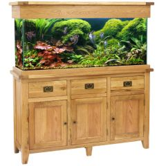 Aqua Oak 150cm 'Drawers & Doors' Aquarium and Cabinet with fish and aquascaping