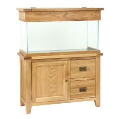 Oak aquarium cabinet, with a glass aquarium