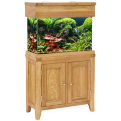 oak cabinet, with a glass aquarium. Two door cabinet. Maidenhead Aquatics Exclusive.