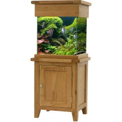 Oak aquarium cabinet, with glass tank. Maidenhead Aquatics exclusive.