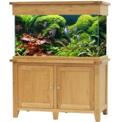 aqua oak aquarium tank with fish two 2 doors