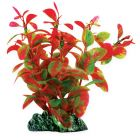 Red and green plastic plant, for aquarium with base.