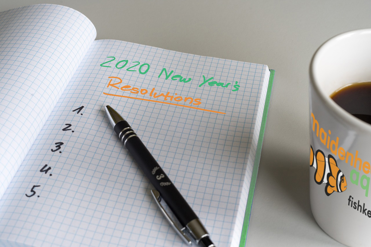 Maidenhead Aquatics New Year Resolutions list in book with cup